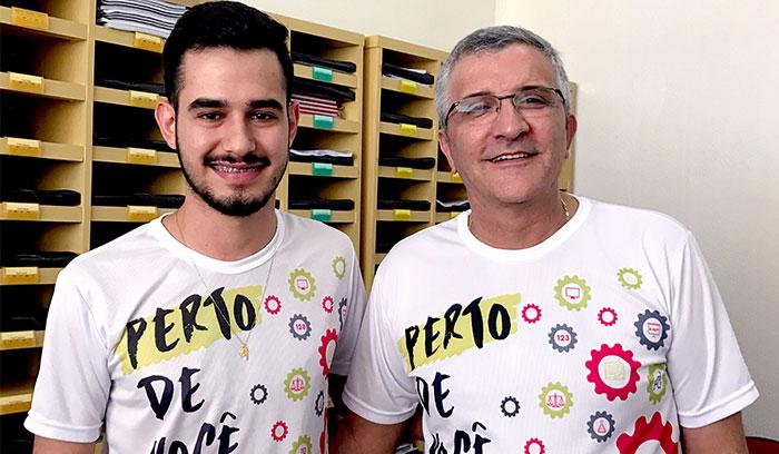 Nelson Felipe Tavares Sales Carrozzo, aluno e Dr José Marcos Zanella Pinto, diretor da Faculdade Santa Lúcia